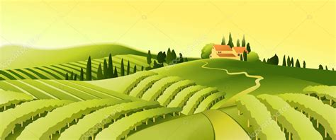 Rural landscape with little town — Stock Vector